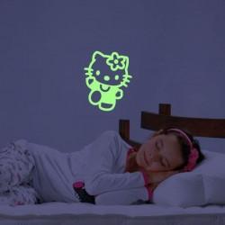 Sticker fosforescent luminos model Hello Kitty