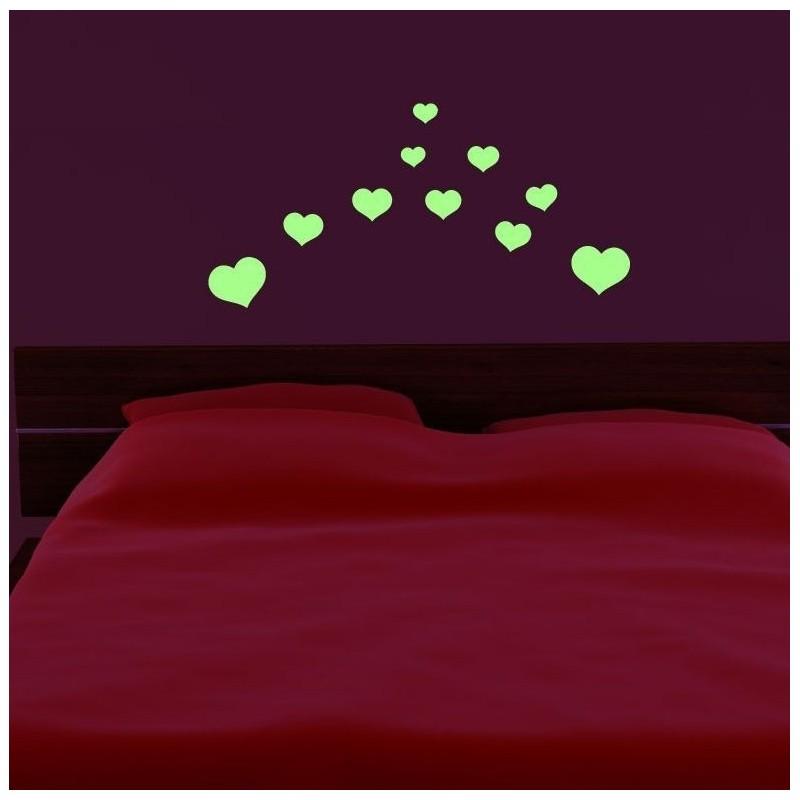 Set 10 Inimioare autoadezive luminescente