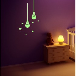 Sticker decorativ glow luminos model bec, set 2 bucati