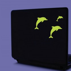 Sticker decorativ glow luminos model Delfin, set 3 bucati