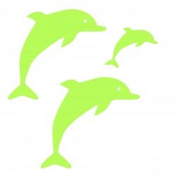 Figurina Delfin fosforescenta autoadeziva, set 3 bucati