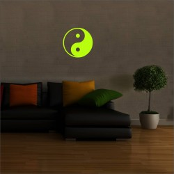 Sticker decorativ glow luminos Yin Yang, 19 cm