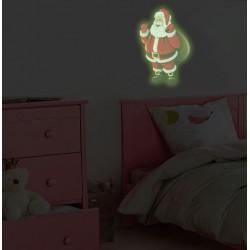 Sticker decorativ glow luminos Mos Craciun