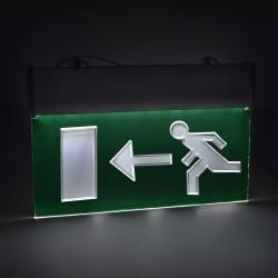 Semn de informare LED, afisaj EXIT stanga, cu acumulator