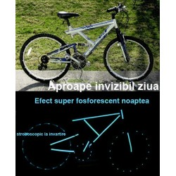 Kit bicicleta nocturna fosforescenta albastra