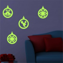 Sticker 4 globuri fosforescente decorative pentru Craciun