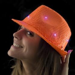 Palarie Trilby cu paiete si LED pentru petreceri