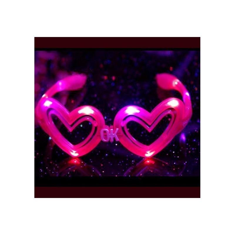 Ochelari cu LED inimioara roz