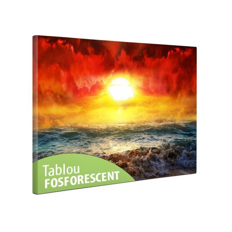 Tablou canvas fosforescent Apus rosu, 40x20 cm