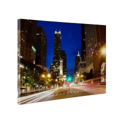 Tablou canvas fosforescent Night in Chicago, 60x40 cm