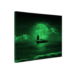 Tablou canvas fosforescent Barca pe mare, 30x30 cm