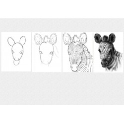 Set Tablou Dual-View  Lectia de pictura in 4 pasi - Zebra