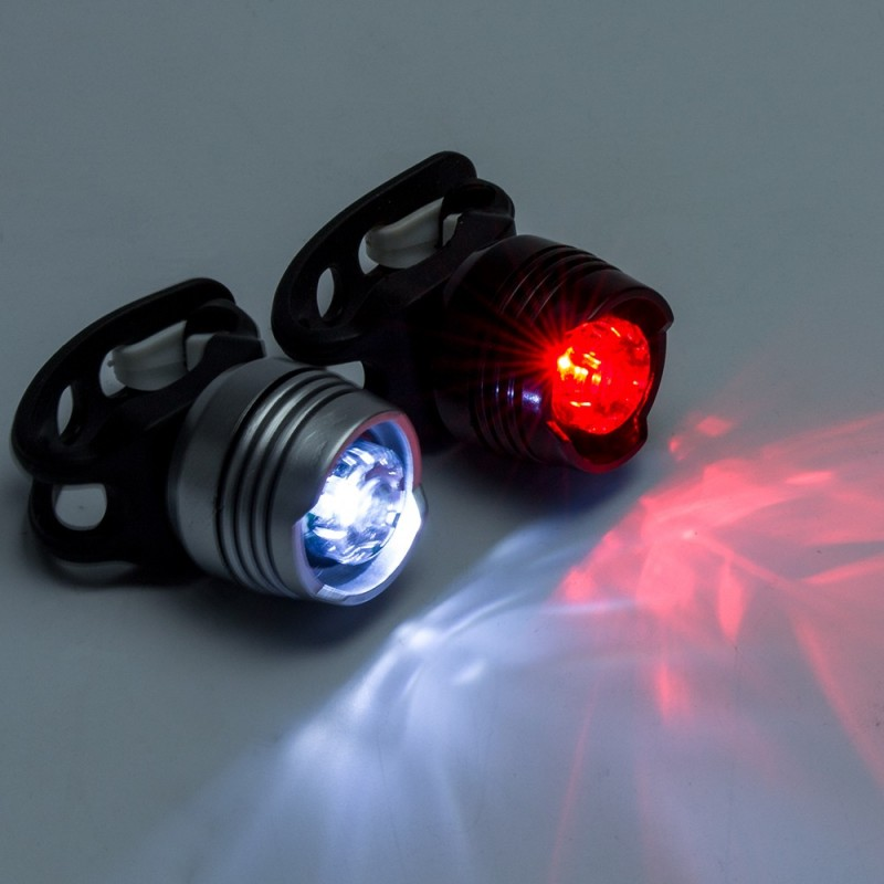 Set lumini LED siguranta pentru bicicleta, Fata si Spate
