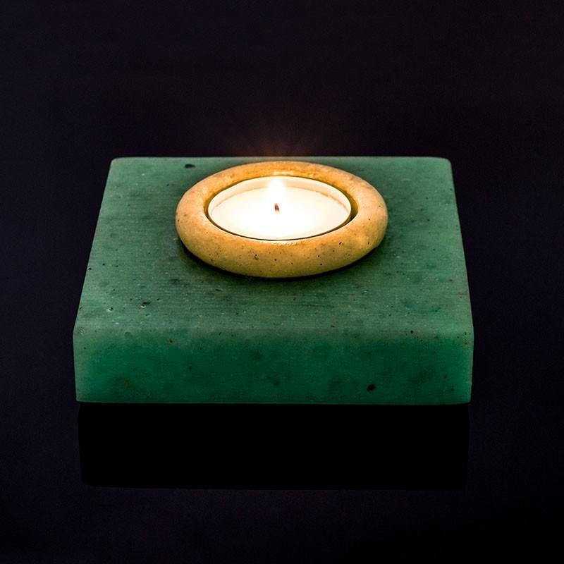 Suport patrat pentru lumanare, luminescent, handmade, 10 cm