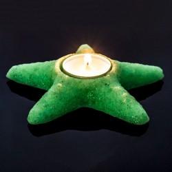 Suport lumanare luminescent, mini steluta, acryl, diametru 4 cm