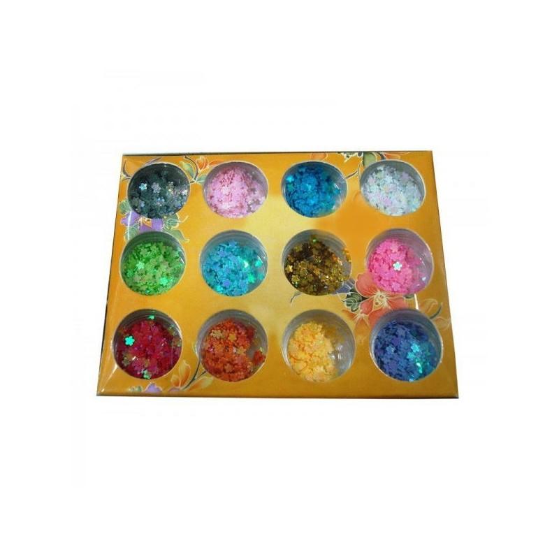 Set 12 paiete decorative multicolore pentru unghii