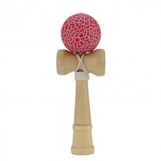 Joc de indemanare Kendama, 19 cm, lemn, rosu cu dungi albe