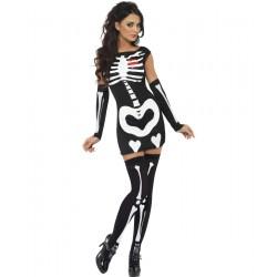 Costum fosforescent schelet sexy glow