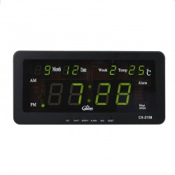 Ceas digital LED, afisaj verde 12/24h, data si temperatura, Caixing