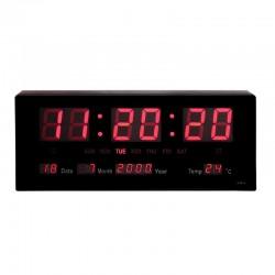 Ceas digital de perete, afisaj LED 12/24, calendar, temperatura, 36x15 cm