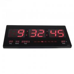 Ceas digital perete, afisaj LED, ora 12/24, calendar, temperatura, negru