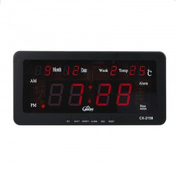 Ceas digital LED rosu, afisaj AM/PM, calendar si temperatura, Caixing
