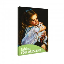 Set tablou fosforescent Fetita cu pisica