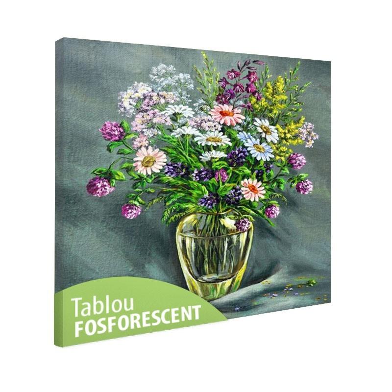 Set tablou fosforescent Vaza de sticla cu flori de camp