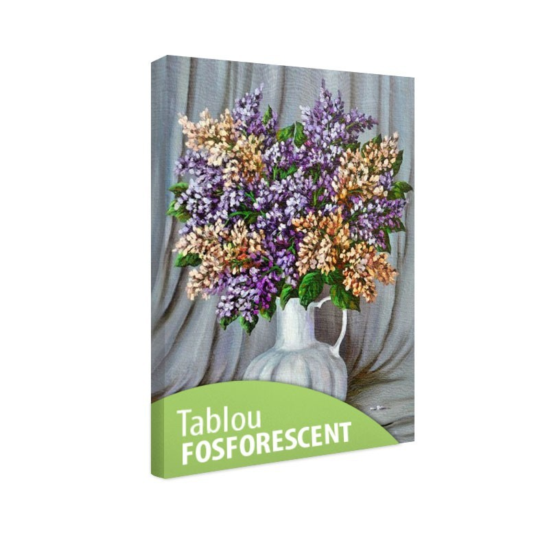 Tablou fosforescent Liliac in vas de portelan