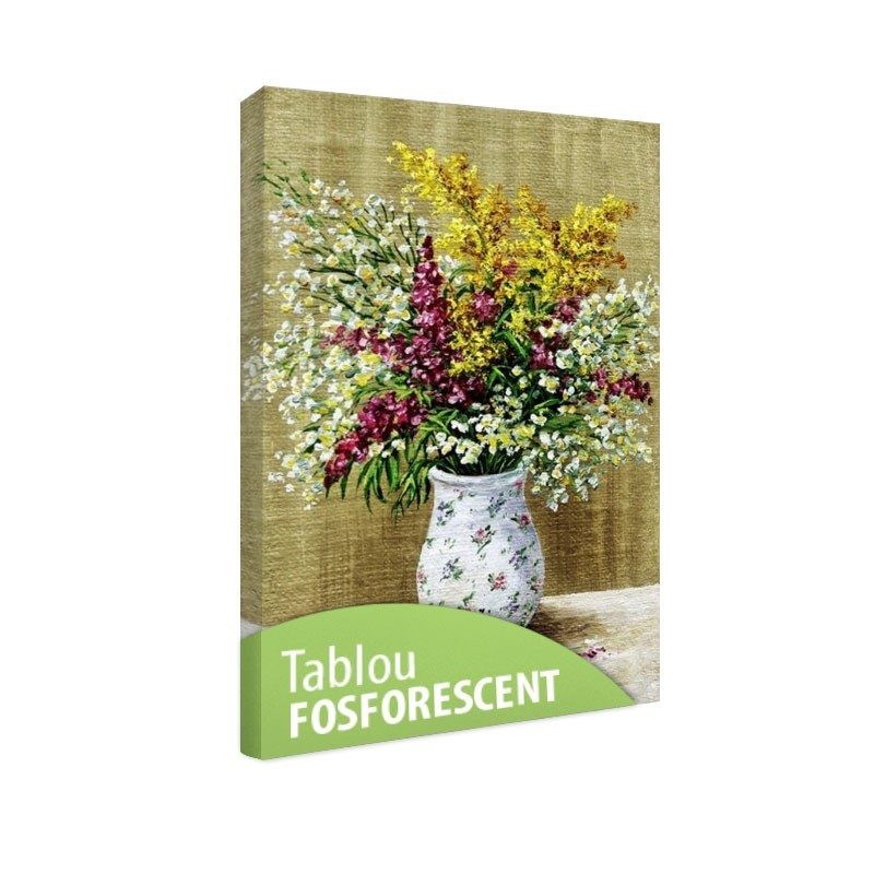 Set tablou fosforescent Flori de camp in vaza inflorata