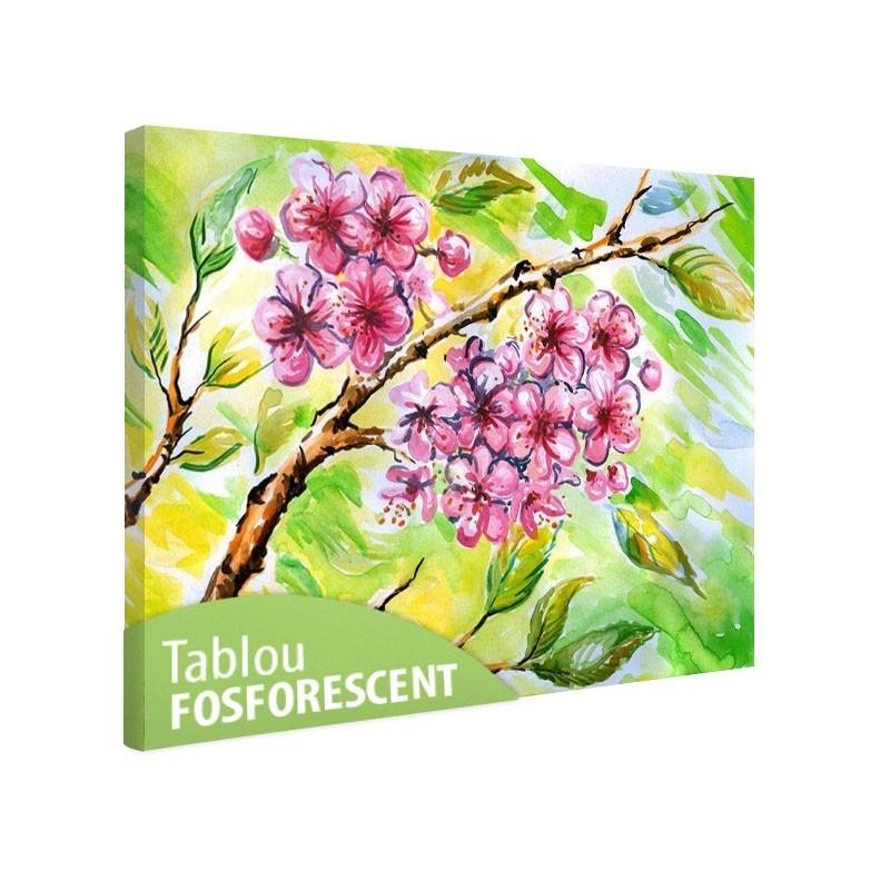 Set tablou fosforescent Flori roz