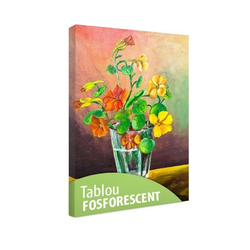 Tablou fosforescent Flori intr-un pahar