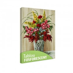 Tablou fosforescent Buchet in vaza de cristal