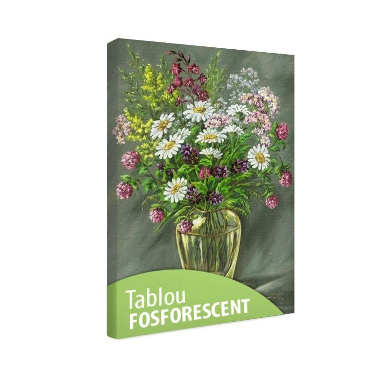 Tablou fosforescent Vaza de sticla cu flori
