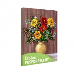 Tablou fosforescent Fluturei in vas de ceramica