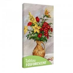 Tablou fosforescent Flori galbene si rosii in ulcior
