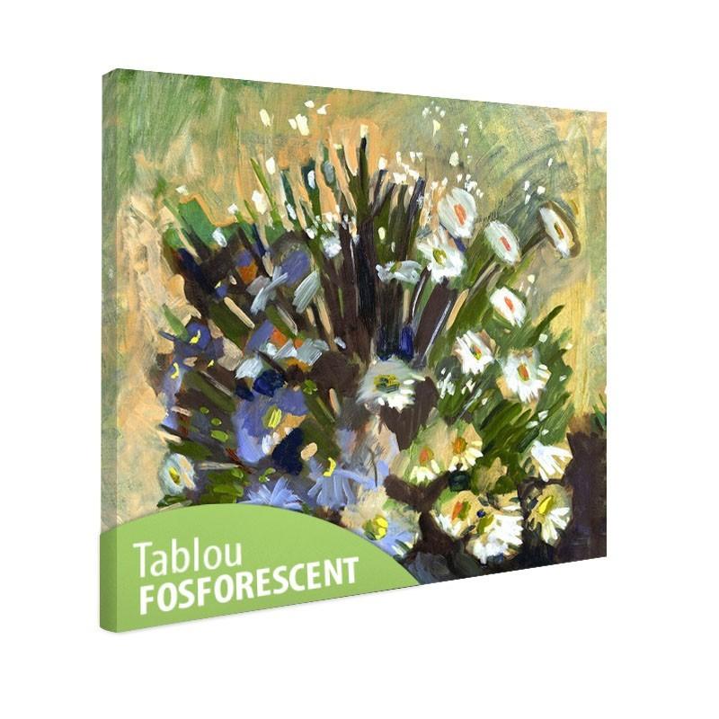 Tablou fosforescent Flori albe si albastre