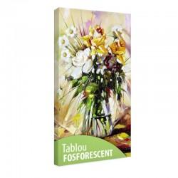 Tablou fosforescent Vaza cu flori albe