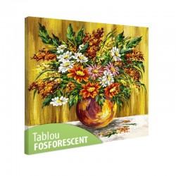 Set tablou fosforescent Flori de musetel in vaza de lut