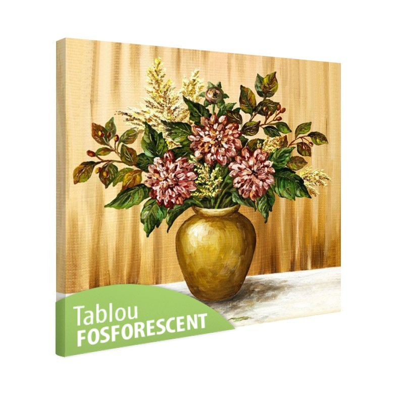 Set tablou fosforescent Dalii in vaza de lut