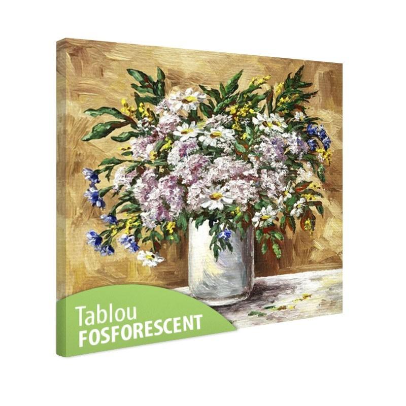 Tablou fosforescent Flori de musetel si albastrele in vaza de lut