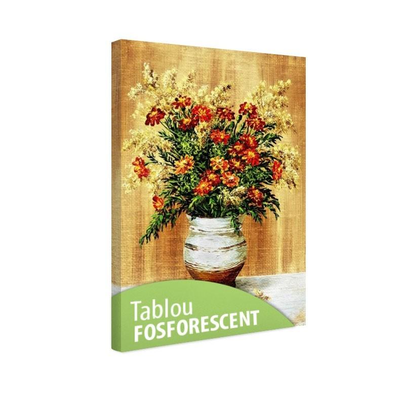 Set tablou fosforescent Galbenele in vas ceramic