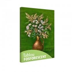 Set tablou fosforescent Flori de musetel pe fundal verde