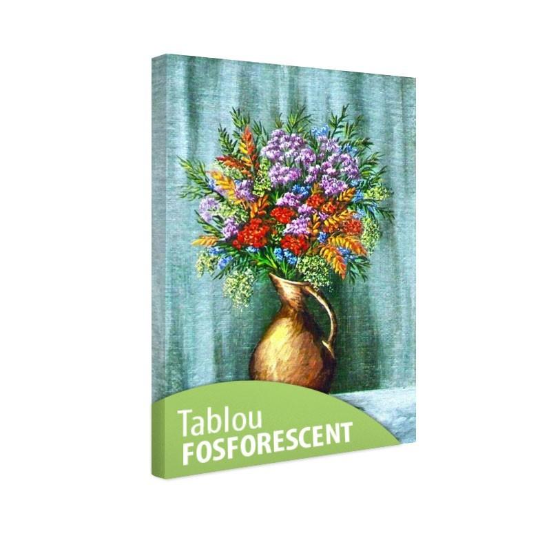 Set tablou fosforescent Flori de munte in vaza de lut