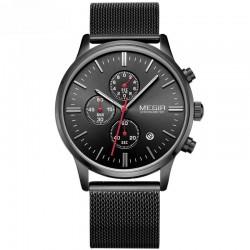 Ceas de mana masculin, curea metalica, calendar, cronometru, negru, Megir