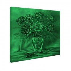 Tablou fosforescent Bujori in vaza de sticla