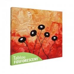 Set tablou fosforescent Flori negre pe fundal rosu
