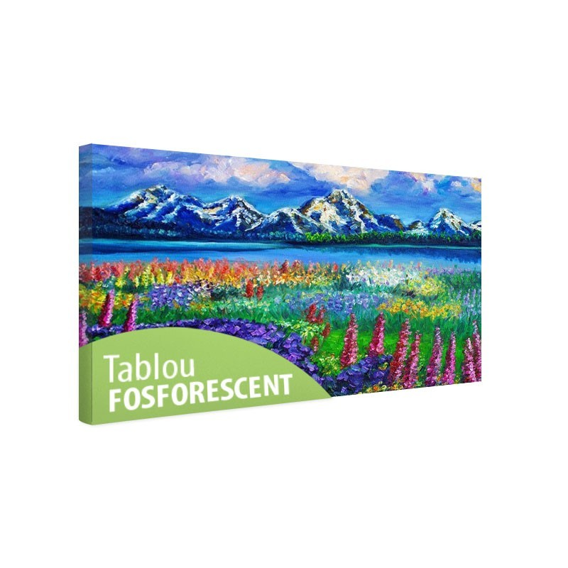 Tablou fosforescent Flori si munti