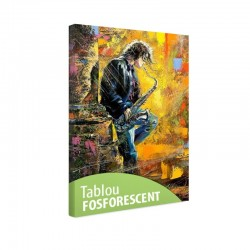 Tablou fosforescent Tanar cantand la saxofon