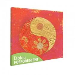 Tablou fosforescent Yin Yang fundal rosu